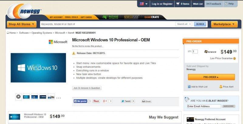 precios y fecha de lanzamiento de Windows 10 professional