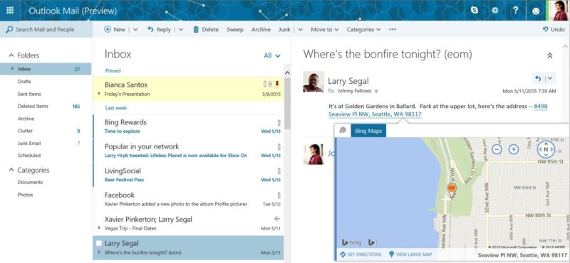 outlook mail preview