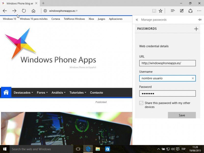 Microsoft Edge gestor contraseñas build 10147 w10 pc