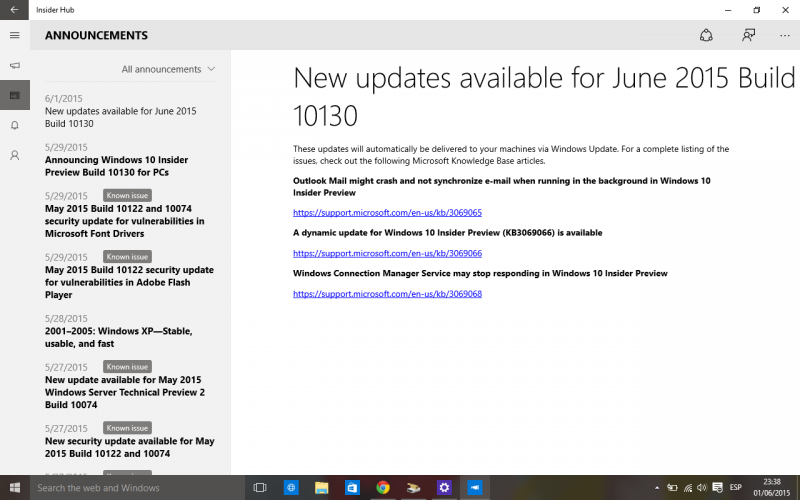 La Build 10130 de Windows 10 PC recibe una actualización vía Windows Update
