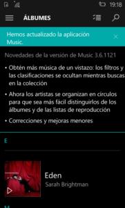 La aplicación Música se actualiza en Windows 10