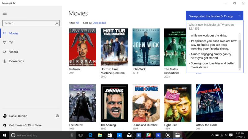 Movies +TV app update