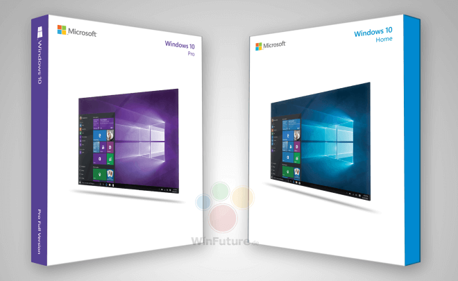 cajas de ventas de Windows 10