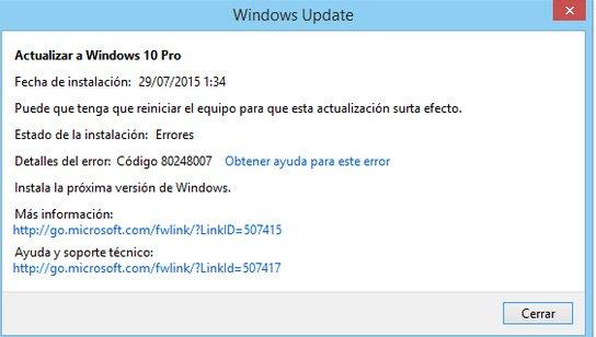 widnows 10 error