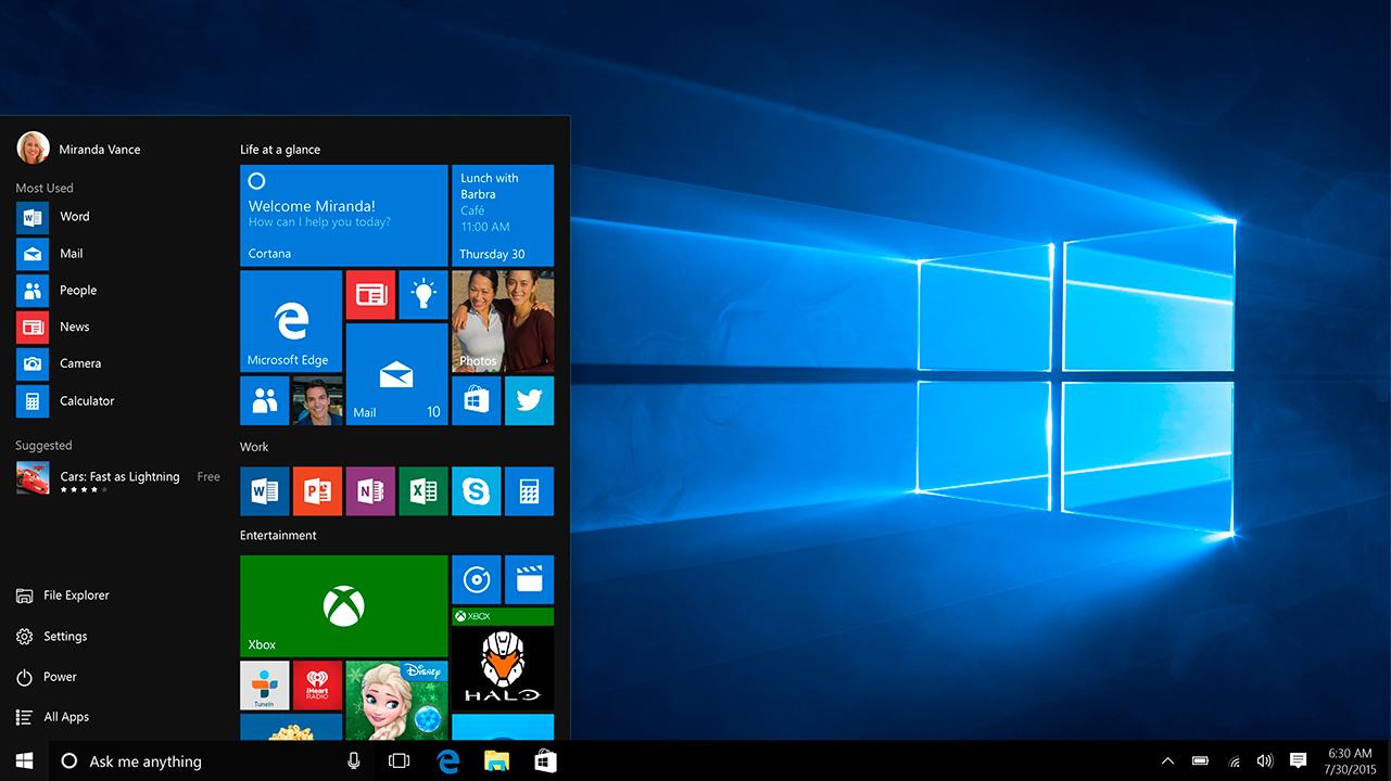 windows 10 captura menu inicio desplegado