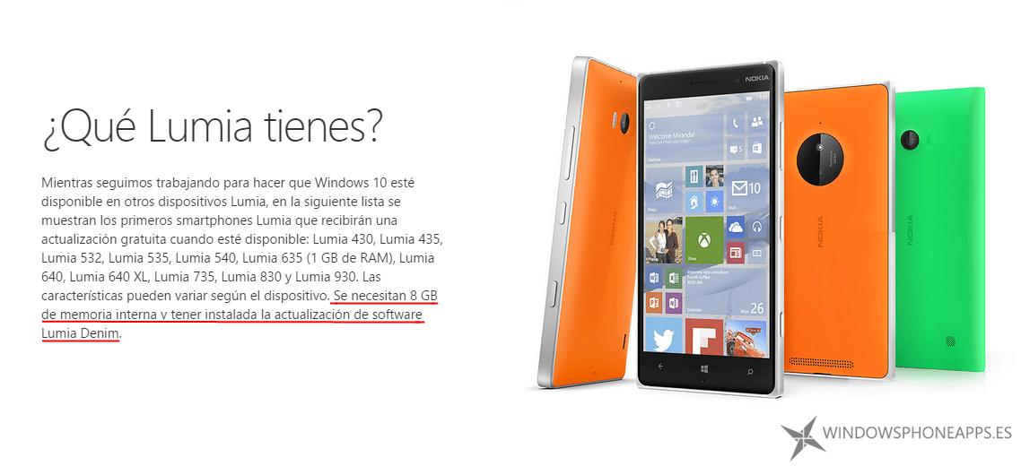 Windows 10 Mobile requerimientos