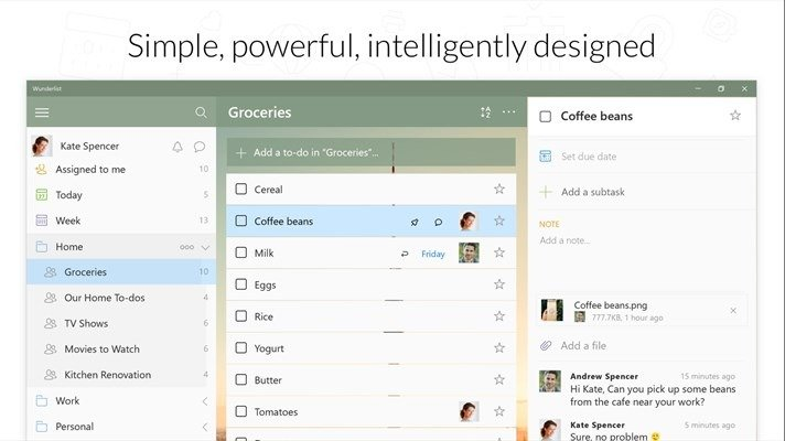 Wunderlist beta disponible como aplicación universal para Windows 10
