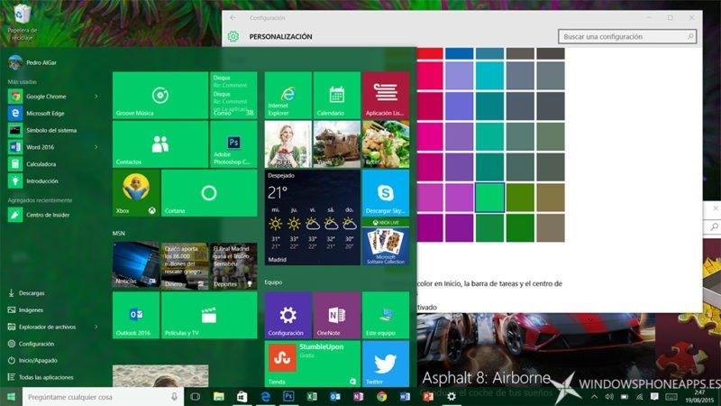 Así se muestra la personalización de colores de la Build 10525 de Windows 10 PC