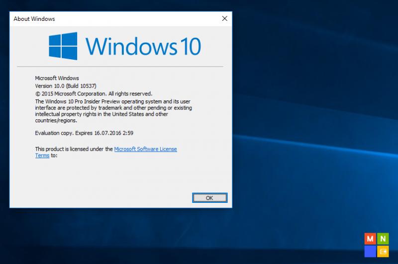Build 10537 de Windows 10 PC