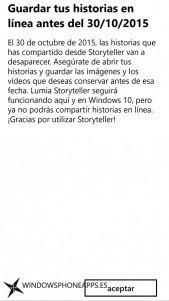 Aviso en la aplicación del fin de soporte de Lumia Storyteller