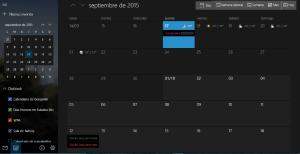 calendario Windows 10 dark