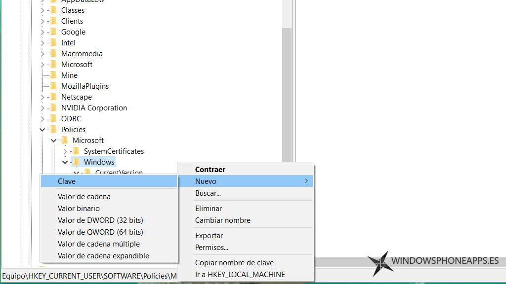 centro de actividades windows 10 - regedit - crear