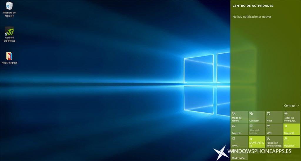 Centro de actividades en Windows 10 PC