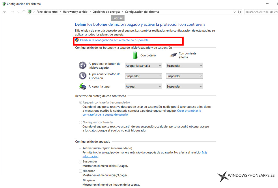 configurar apagado windows 10 - panel 2