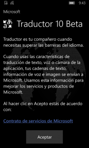 Condiciones de uso del Traductor 10 Beta