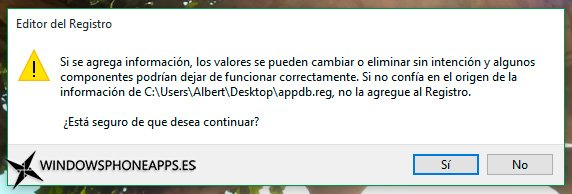 Cuadro de advertencia para la edición del registro en el tutorial para solucionar problemas de notificaciones en Windows 10