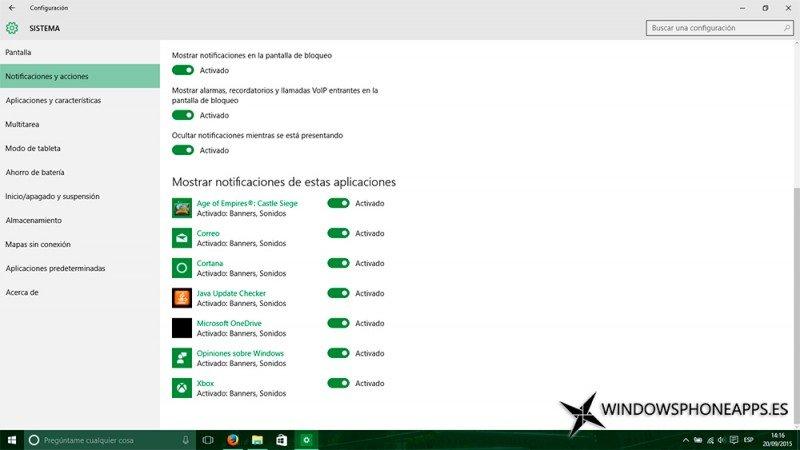 Imagen de la configuración con los problemas en las notificaciones de Windows 10