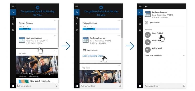 Reunión de LinkedIn en Cortana