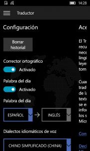 Configuración de Traductor