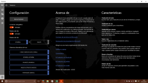 Configuración y Acerca de Traductor para Windows 10 PC