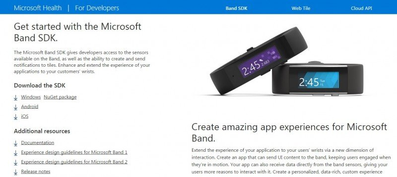 Microsoft Band 2 SDK