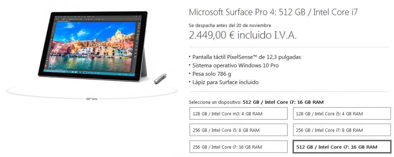 Surface pro precio