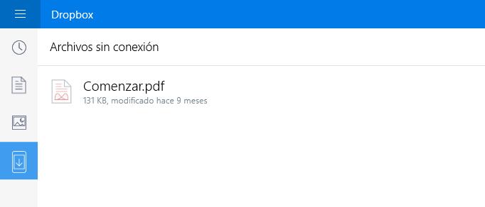 archivos sin conexion dropbox