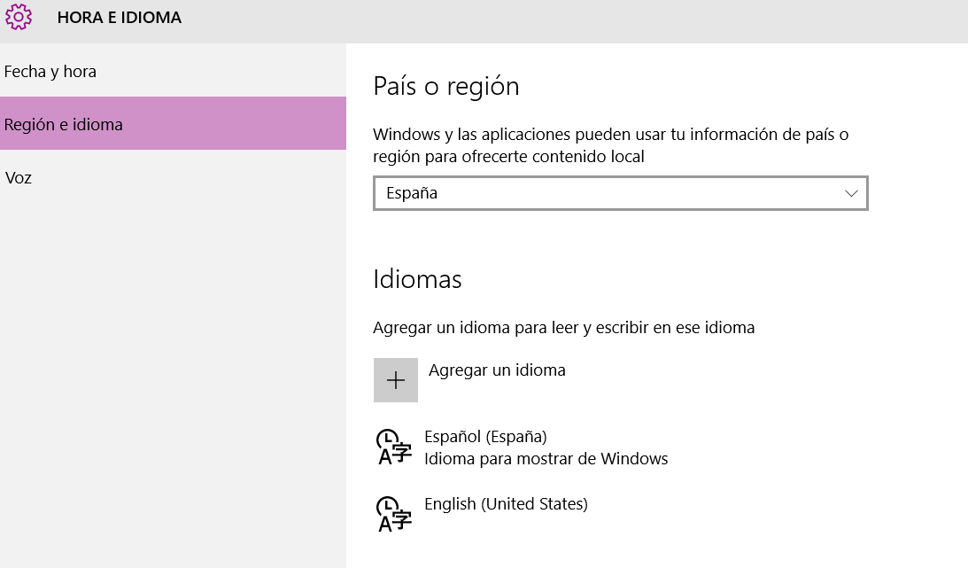 Descargar idioma Windows 10