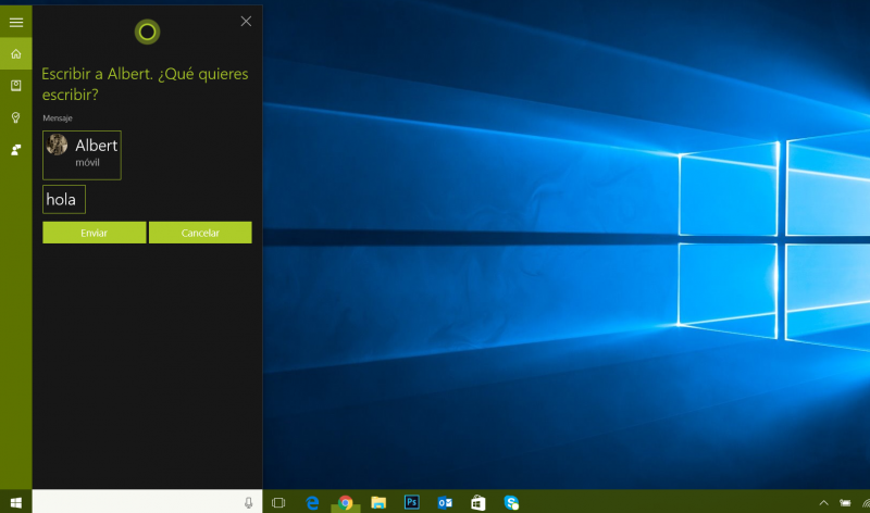 cortana mensajes windows 10 pc