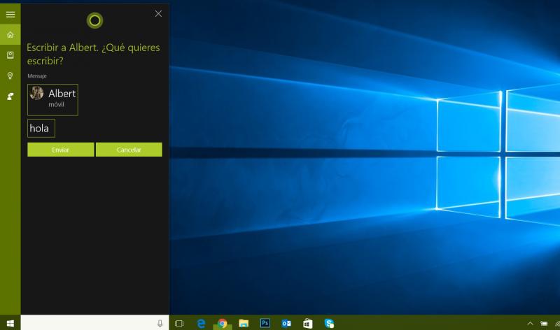 cortana mensajes windows 10 pc