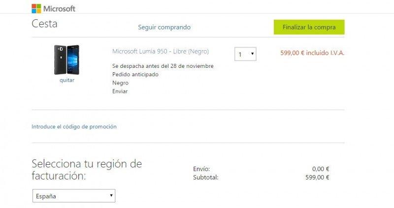 fecha Microsoft lumia 950