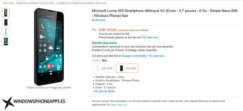 Precio del Lumia 550 en Europa (Amazon Francia)