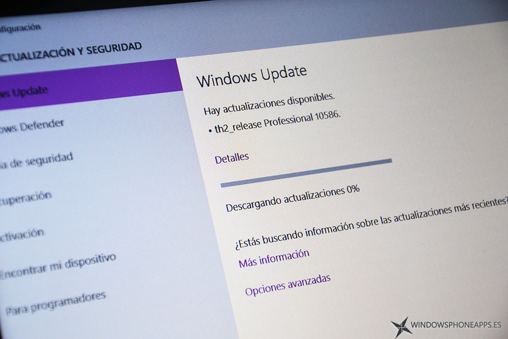 Build 10586 de Windows 10 PC