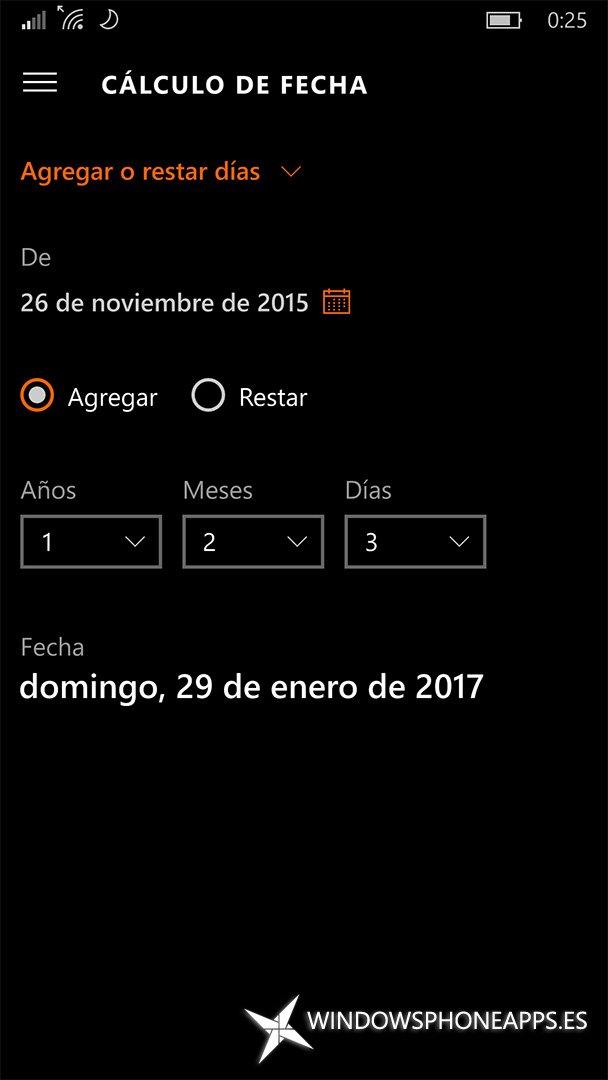 Cálculo de fecha, agregar o restar días en la Calculadora de Windows