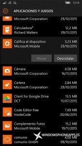Califica el dispositivo en Almacenamiento de Windows 10 Mobile