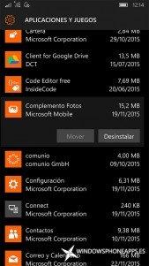 Complemento Fotos en Almacenamiento de Windows 10 Mobile