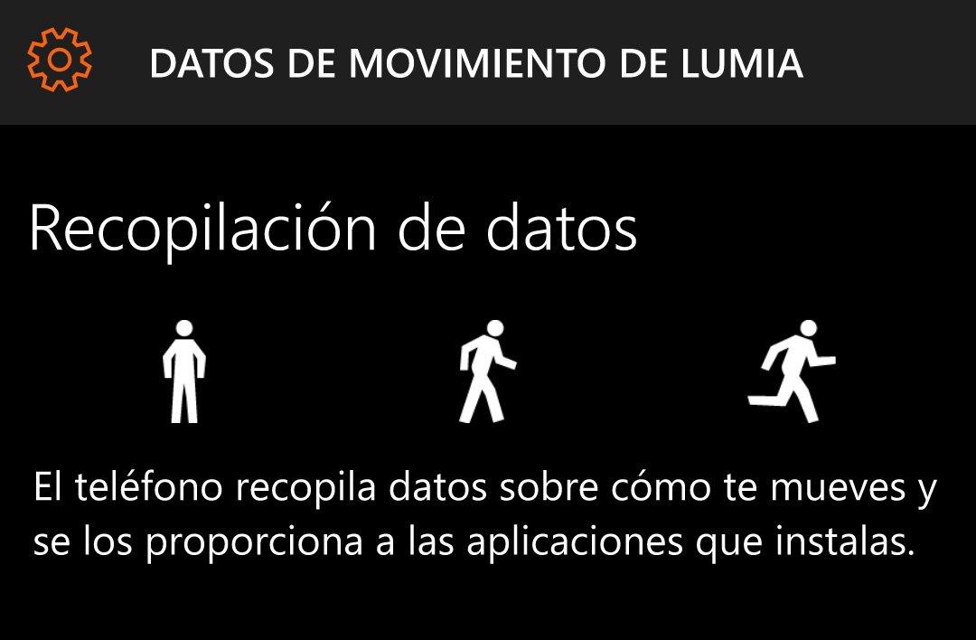 Datos de movimiento de Lumia