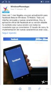 Facebook se actualiza para Windows 10 Mobile poniéndose a la altura de la Beta