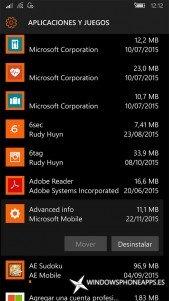 Información avanzada en Almacenamiento de Windows 10 Mobile