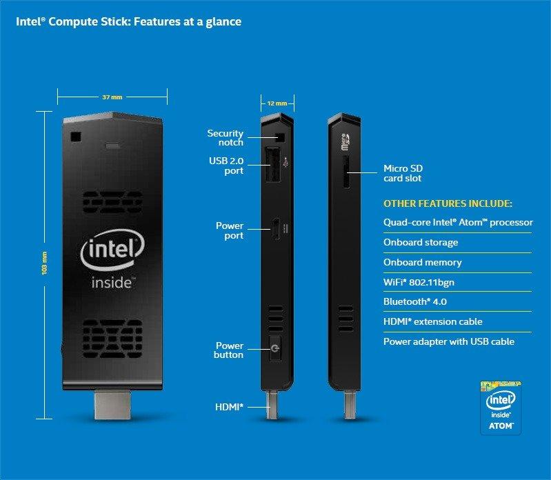 Intel Compute Stick especificaciones externas
