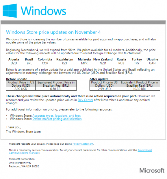 Precios actualizados de las aplicaciones en la Tienda de Windows