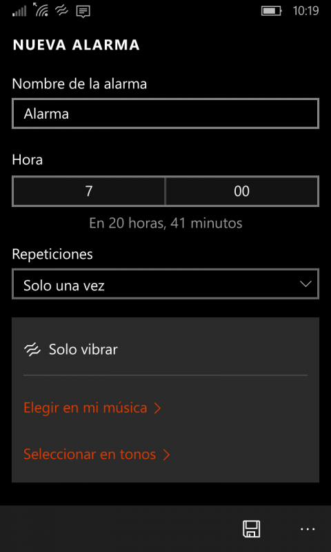alarmas Windows 10