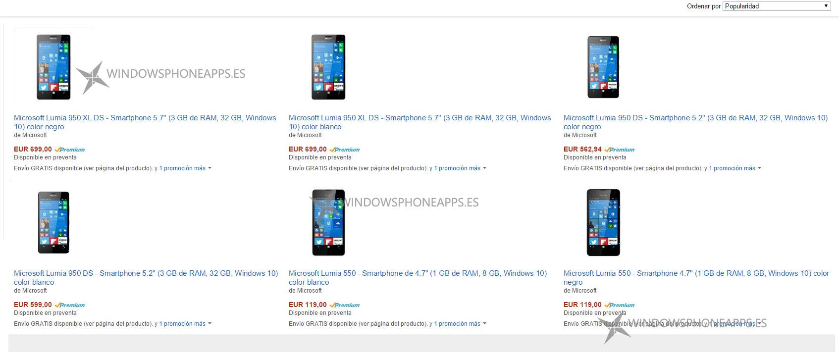 Lumia 550, 950 y 950 XL amazon españa