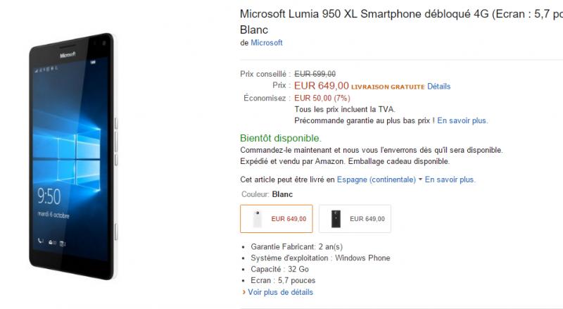 Amazon Francia rebaja los precios de los Lumia 950 y Lumia 950 XL