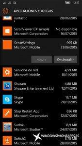 datos de movimiento en Almacenamiento de Windows 10 Mobile
