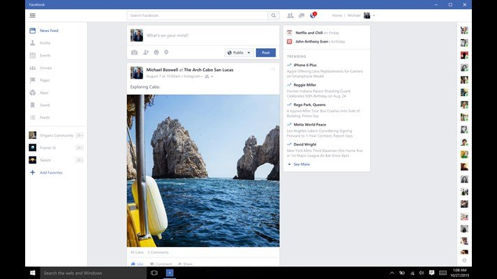 facebook pc windows 10