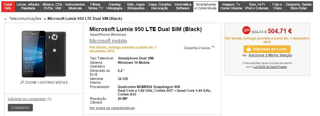 lumia 950 - fnac pt