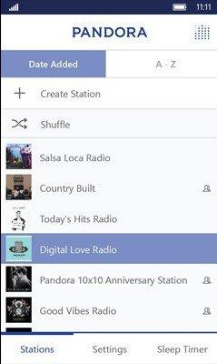 Pandora libera su aplicación rediseñada para Windows 10 Mobile