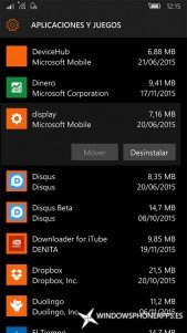 pantalla en Almacenamiento de Windows 10 Mobile