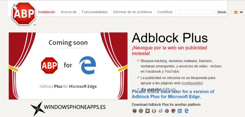 AdBlock Plus en Microsoft Edge